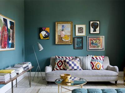 时尚艺术深蓝背景欧式风格公寓